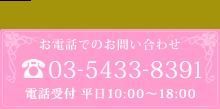 お電話でのお問い合わせ 03-5433-8391【電話受付 平日10:00~18:00】
